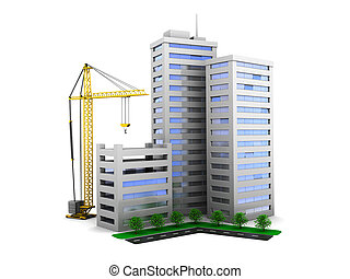 city construction - 3d illustration of city buildings...