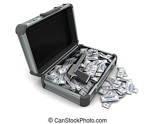 crime money - 3d illustration of suitcase with gun and money...