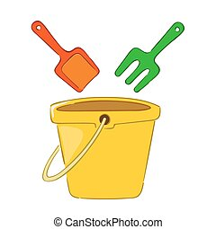Pail and shovel beach toys - Vector illustration of Pail and...