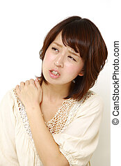 neck ache - concept shot of young Japanese woman's life