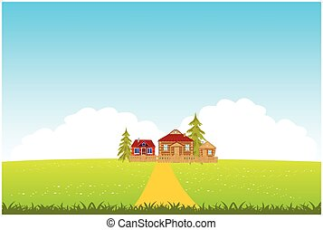 Village in clean field - Year landscape with green floor and...