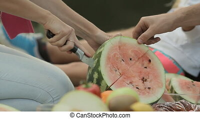 Close up of how mom cut watermelon in nature during a family...