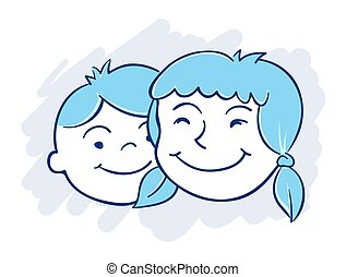 Brother and Sister - Vector illustration of boy and girls...
