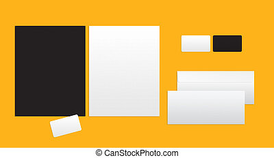 Mockup for branding identity on a yellow background. Top...