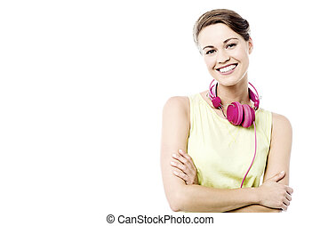 Pretty woman with ear phones - Happy woman with head phones...