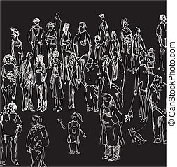 People Meeting - Hand drawn illustration of a crowd on black