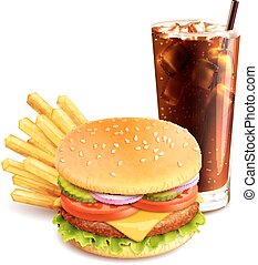 Hamburger French Fries And Cola - Hamburger french fries and...