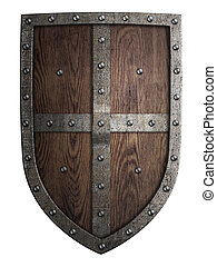 crusader medieval wooden shield isolated on white