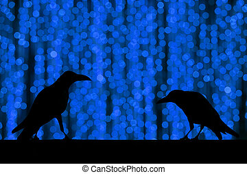 Silhouette crow with festive blur bokeh elegant abstract...