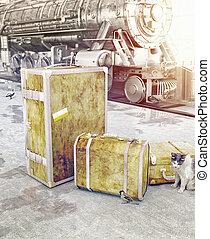 old vintage luggage on the railway platform 3d concept