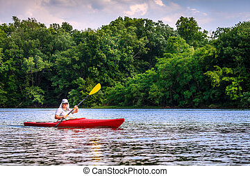 Kayaking on the lake