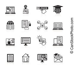 Online Education Icons Black - Online education e-learning...