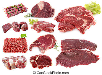 beef meat in front of white background