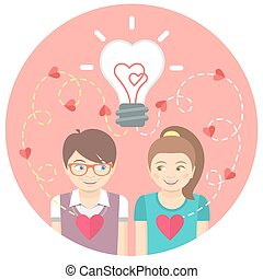 Couple in love with a light bulb