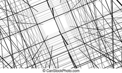 Abstract lines background, lattice on a white background 3d...