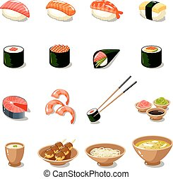 Asia Food Icon Set - Asia food icon set with sushi rolls...
