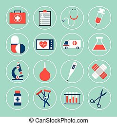 Medical Equipment Icons - Medical equipment icons set with...
