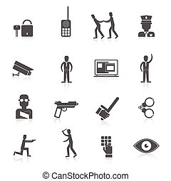 Security guard black icons set with safety officer weapon...