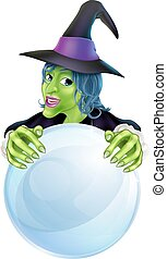 Witch and crystal ball - A cartoon witch and crystal ball...
