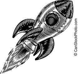 Vintage rocket space ship - Illustration of a vintage style...