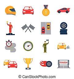 Auto Sport Icon Flat - Auto sport grand prix icon flat set...