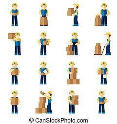 Delivery Man Icon Flat - Delivery man courier person with...