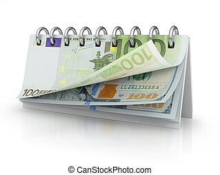 Calendar with dollar and euro bills