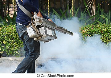 Fogging to prevent the dengue fever - Fogging mosquito to...
