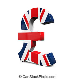 Pound Symbol with Flag isolated on white background. 3D...