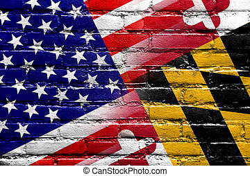 USA and Maryland State Flag painted on brick wall