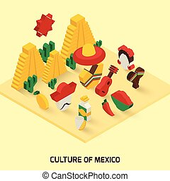 Mexican Icon Isometric - Mexican decorative icon isometric...