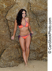 Beach girl - Beautiful brunette at the beach, Gray Whale...