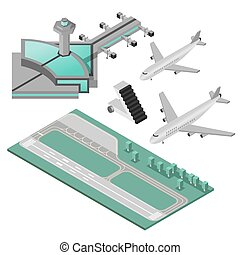 Airport Icons Set - Airport stairway airplane and runway...