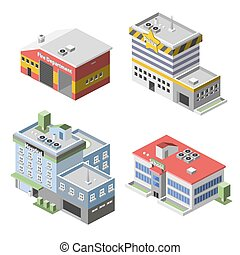 Government Buildings Set - Government buildings 3d isometric...