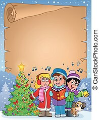 Parchment with carol singers - eps10 vector illustration