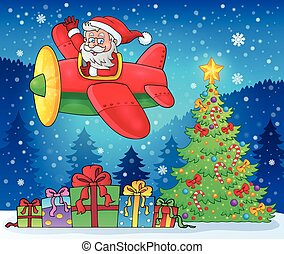 Santa Claus in plane theme image 9 - eps10 vector...