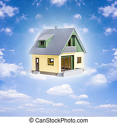 dreamhouse - blue sky with clouds and a house (dream house)