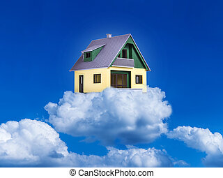 house on clouds - clouds in the sky and a house (dream...