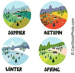 Farm rural landscape in four seasons - round shape cards