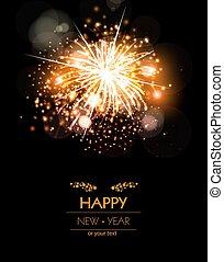 szczęśliwy, nowy, rok, fajerwerki, tło, Pojęcie,...