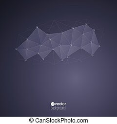 Abstract Background with transparent Mesh and glowing lines,...