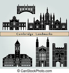 Cambridge landmarks and monuments isolated on blue...