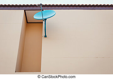 Satellite dish install on the wall