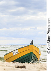 Wooden boat on The Baltic shore, Hel Peninsula.