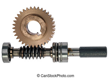 Driving gear - Leading gear wheel of conic type. Isolated on...