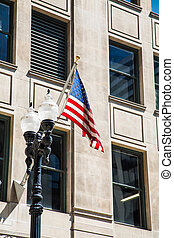 American Flag and Traditional Light Pole