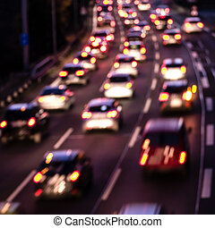 cars on highway (bokeh effect) - cars on highway in evening