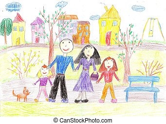 Childs drawing of family for a walk - Childs drawing of...