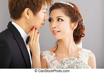 beautiful asian bride and groom