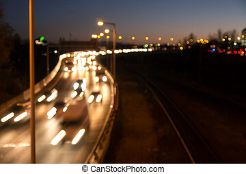 traffic on highway in evening